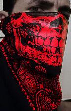 RED SKULL BLACK TRAINMEN PAISLEY BANDANA HALF FACE MASK CALAVERA DUBSTEP HIPHOP