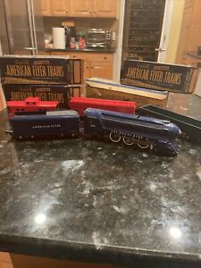 American Flyer Locomotive 350 Pacific Royal Blue Plus 3 Cars &track