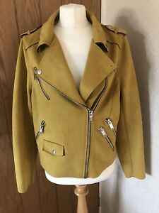 River Island (stud Missing) Plus Faux Suede Mustard Jacket Size 18 Hardly Worn