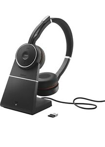Jabra Evolve 75 Wireless Bluetooth Headset With Charging Stand Only HSC040W Used