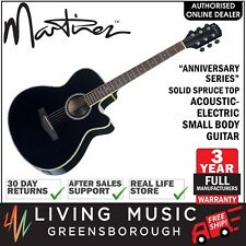 NEW Martinez Solid Spruce Top Acoustic-Electric Small Body Guitar (Black)