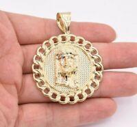 "2 1/2"" Jesus Head Medallion Miami Cuban Bordered Pendant Real 10K Yellow Gold"