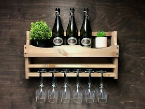Rustic Wooden Wine Shelf Rack Bottle 6 Glass Holder Wall Mounted Home Bar (6WO)