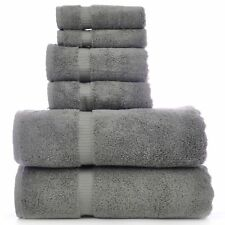 Luxury Hotel Spa Towel Turkish Cotton Bath Towel Bundle (Gray, 6-Piece Towel
