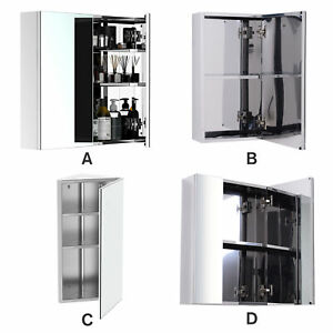 Wall Mounted Bathroom Mirror Glass Storage Stainless Steel Cupboard 4 Pattern