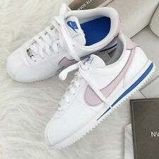 Nike Classic Cortez Basic White Lilac Blue Leather Trainers Women Men UK 5 EU 38
