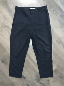 """VINCE Super High Waist Tapered Ankle Pants 25"""" Inseam Navy Blue Crepe Sz 12"""