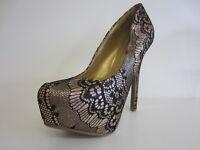 Anne Michelle L2R233 Brillo de las Señoras Zapatos Salón L Dorado UK 3 a 8