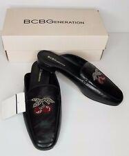 NEW BCBG Women's Black Leather Mules Size 9 M Cherry