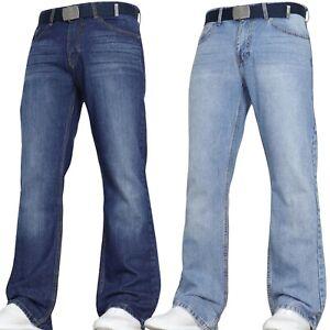 VON DENIM New Mens Bootcut Flared Wide Leg Pants Smart Belt Jeans Big All sizes