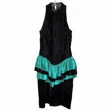 New listing Vintage 80s Bari-Jay Black Green Velvet Party Dress Cocktail Peplum - 5 / 6
