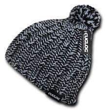 Black & White Warm Woven Winter Sweater Ski Pom Pom Skull Knit Beanie Cap Hat