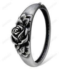 Black Marcasite Austrian Crystal Nice Rose Bangle Retro Silver Plated Bracelet