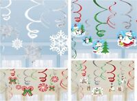 12 VALUE CHRISTMAS PARTY SNOWMAN OR SNOWFLAKE CEILING SWIRLS DECORATION FROZEN