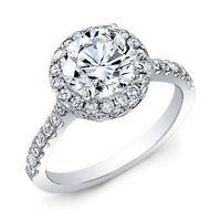 1.91 Ct. Halo Round Cut U-Set & Pave Diamond Engagement Ring H,VS2 EGL 18K W/Y/R