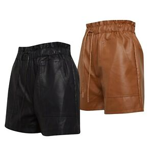 Ladies Brave Soul High Waisted Faux Leather Lined Shorts Sizes from 8 to 14