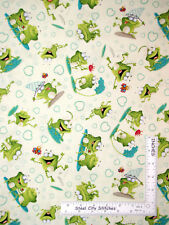 Frog Toad Catching Bugs Toss Cream Cotton Fabric HG&Co Frogland Friends - Yard