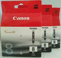 3 x Genuine Canon Pixma CLI 8BK Black Printer Ink Cartridges CLI-8BK