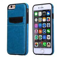 BLUE LEATHER PHONE CASE LUXURY WALLET COVER CARD SLOTS for iPhone 6 / 6S Phones