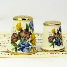 More details for collectable metal thimble 'mother & duaghter pansies' handpainted by kadletz