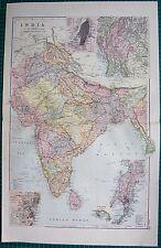 1901 LARGE VICTORIAN  MAP-INDIA,INSET KOLKATA,UPPER BURMA,BOMBAY,MADRAS
