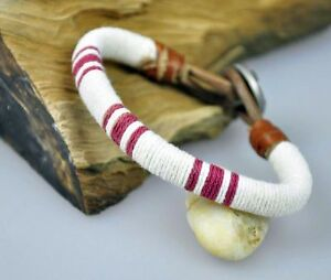 Classic Surfer Cotton Thread Wrap Leather Wristband Bracelet Cuff White & Red
