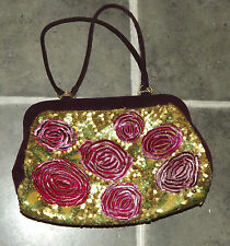 ACCESSORIZE GORGEOUS LADIES PURPLE & FUCHSIA GOLD & GREEN SEQUINS SWIRLS HANDBAG