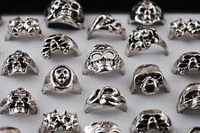 10pcs Wholesale Fashion Skull Head Silver Plated Mens Ring Lots Jewlery 18-22mm