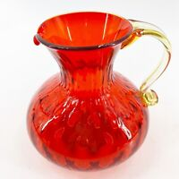 Vintage Blenko Hand Blown Art Glass Red Amberina Quilted Diamond Optic Pitcher