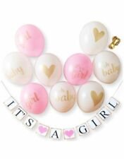 Baby Shower Party Decorations: It's A Girl! 9 PCS Balloons Ribbon And Banner