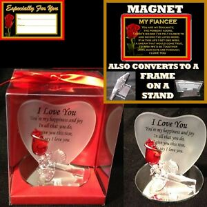 FIANCEE SOULMATE VERSE I LOVE YOU RED ROSE GLASS HEART MAGNET ANNIVERSARY GIFT