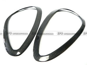 For 11-14 Porsche Cayenne 958 Style Carbon Fiber Headlight Eye Brow Lid 2Pcs