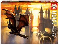 Puzzle Educa 17312 Sunset Dragon, 1000 piezas, Fantasia, Castillo, Ocaso, teile