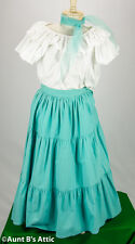 Vintage 50's Peasant Skirt & Blouse Aqua Western Style Mexican Cinco De Mayo