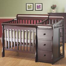 2 in 1 Convertible Mini Crib & Changer Nursery Furniture Toddler Merlot Newport