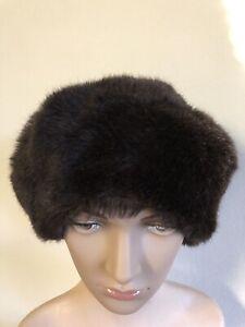Vintage Faux Fur Hat, Brown, Original - Made in France - Size 22 Inch / 56cm