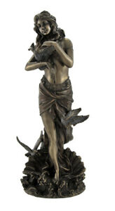 Bronzed Aphrodite with Doves on Scallop Shell Statue