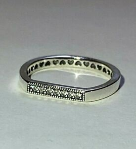 PANDORA SPARKLING BAR STACKING RING , S925 ALE,ALL SIZES, STERLING SILVER