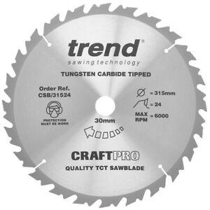 Trend CSB/31524 Mitre Circular Saw Blade 315mm x 30mm x 24T Table TCT Wood