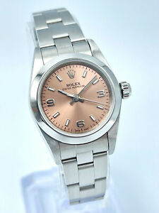 Ladies Rolex Oyster Perpetual 76080 24mm Arabic 3 6 9 Pink Bronze Dial Oyster