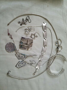 Vintage Sterling Silver lot, bracelets, chains, pendents, rings.  lot 2