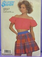 """RETRO SIMPLICITY PATTERN 8697 SHORTS & TOP MISSE'S SIZE 10-12 BUST 32.5"""" - 34"""""""