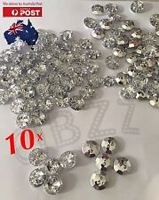 10x Rhinestone Button Flatback Clear White Crystal Craft Clothing Sew On Bead