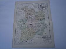 Carte 19° 1852  couleur atlas Malte brun Département Ille et Villaine  Rennes