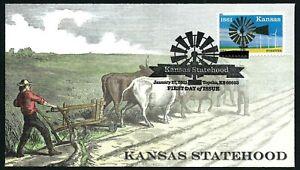 USA, SCOTT # 4493, FDC COVER OF KANSAS STATEHOOD, MAN & BULLS PLOWING THE FIELD