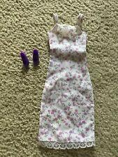 Barbie Doll Dress Nightgown Handmade Vintage White Purple Calico High Heels Shoe
