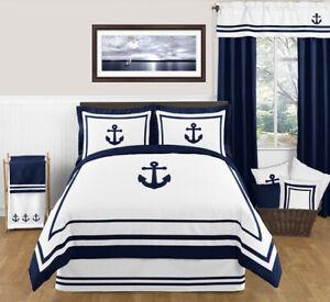 Sweet Jojo Blue White Nautical Sail Boat Themed Full Queen Kids Boys Bedding Set