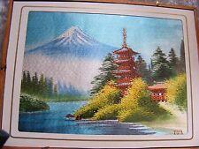 Giapponese vintage Pannello di seta ricamo Monte Fuji Pagoda-firmato incorniciato