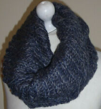 Blue Wool Knitted Infinity Scarf Double Layer Cowl Snood Loop Neck Warmer