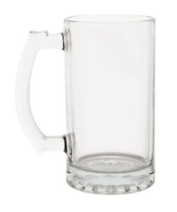Glass Heavy  Sports Mugs with Handles   16 oz.